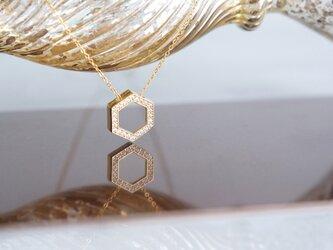 【14KGF】Necklace, CZ Hexagon-Crystal-の画像