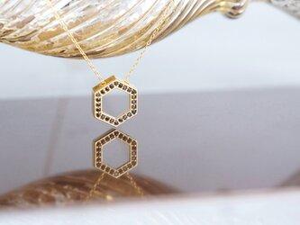 【14KGF】Necklace, CZ Hexagon-Black-の画像