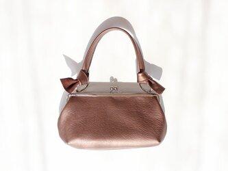 レザーがま口バッグ:お財布、ミニバッグの画像