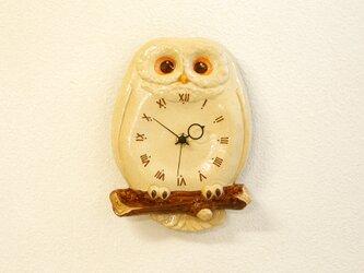 陶器のふくろう尾振り時計 おはようの画像