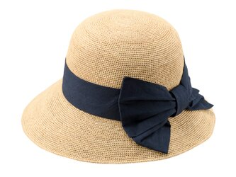 Nadia ナディア ラフィア 綿麻リボン 女優帽 ナチュラル×ネイビー 57.5cm [UK-H090-NV]の画像