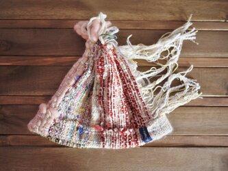 手織り もじゃ帽子 キャップ 秋冬の画像