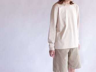 combed yarn enbroidery mark tshirt/heather beigの画像