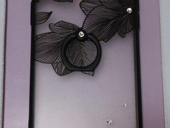 花柄透かし模様 スマホリング付きの画像