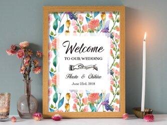 総柄 水彩花 ウェルカムボード 結婚式 ウェディングの画像