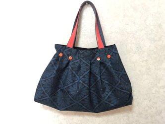 着物反物(新品) 大島タックバック 絹 藍 朱色 の画像