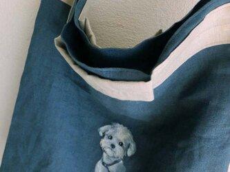 受注制作 linenのバッグ 白い犬の画像