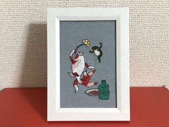 手刺繍浮世絵フレーム*歌川国芳「酒のざしき」の御機嫌金魚の画像