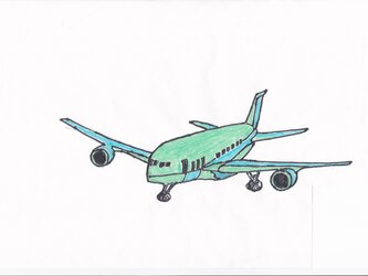 A4ポスター  グリーンジェット機の画像