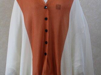 インポートコットン100%2Wayボレロ ホワイト/オレンジ*尾州編みの画像