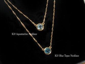 【K10YG】アクアマリンとブルートパーズ ネックレスの画像