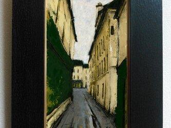 風景画 パリ 油絵「モンマルトルの裏通り」の画像