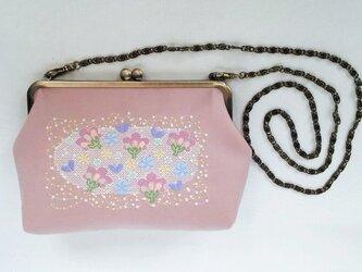 刺繍がま口ショルダーバッグ 花の森 ピンクの画像