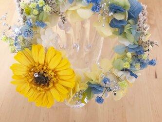 【プリザーブドフラワー紫陽花とガーベラのリース花たちの丸い輪の永遠の祝福】の画像