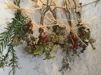 ナチュラルドライフラワー木の実ミニスワッグのガーランド、ピンチ、麻紐付きの画像