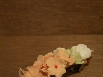 アジサイのバレッタ(ピンク・グリーン)の画像