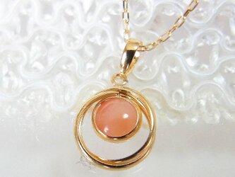 K18 ピンク珊瑚 さんご サークル ネックレスの画像