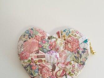 ハートのミニポーチ サーモンピンクの画像