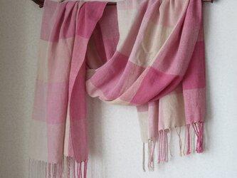 手織りオーガニックコットンストール・・さくらさくさくの画像