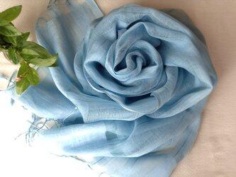 再出品【藍の生葉染め】コットン&シルクすかしストライプ柄ストール 水浅葱色の画像