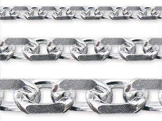 シルバー925 チェーンネックレス(工房組み立て日本製)~50cm チェーン幅2、8mm カットアズキの画像