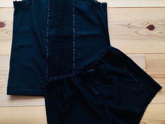 リボンレースタックシルクキャミソール パンツ セット ブラックの画像