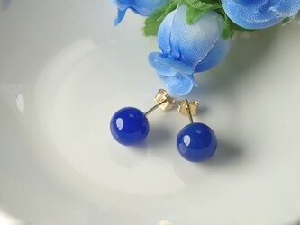 *P15*宝石質ブルーカルセドニーAAA(丸玉)☆一粒ピアス(8mm)の画像