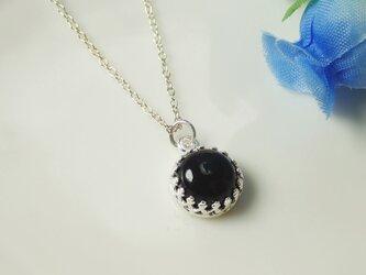 Silver925*N13*高品質天然石オニキスAAA☆クラウンネックレスの画像