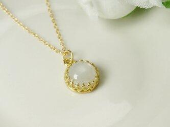 *N10*宝石質ホワイトムーンストーンAAA☆クラウンネックレスの画像