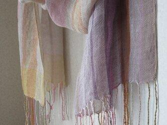 手織りリネンシルクストール・・薄霞の画像