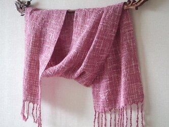 手織りコットンストール・・ロゼの画像