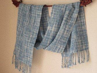 手織りコットンマフラー・・春の山の画像