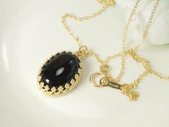 *N28*宝石質オニキスAAA☆王冠ネックレス(大)の画像