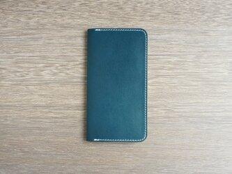 牛革 iPhone XS Max カバー  ヌメ革  レザーケース  手帳型  ネイビーカラーの画像
