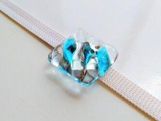 かき氷みたいなガラス帯留 ブルーの画像