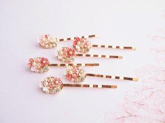 桜の彩りヘアピン *つまみ細工*の画像
