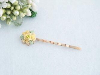 菜の花のヘアピン *つまみ細工*の画像