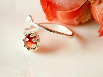 *RS50*宝石質モザンビークガーネットAAA(ローズカット)★クラウン&リーフリングの画像