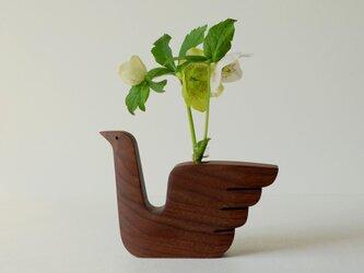 水鳥のフラワーベース(ウォールナット)の画像