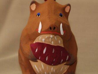 干支土鈴。亥、猪の土鈴。の画像