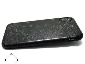 iphoneXsMAXケース /  特殊エンボス加工 レザーケースカバー(ペイズリー×ブラック)Xsマックスの画像