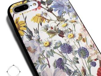 ef0d8c1e1a iphone7plusケース / iphone8plusカバー レザーケース(花柄×ブラック)ヴィンテージフラワー ボタニカル