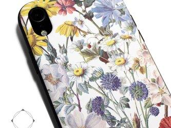 iphoneXRケース / iphoneXRカバー レザーケースカバー(花柄×ブラック)ヴィンテージフラワー / XRの画像