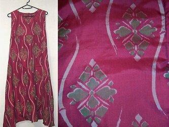 Sold Out着物リメイク♪花菱模様が可愛い銘仙チュニックワンピース脇裾変形♪ハンドメイド・春の画像