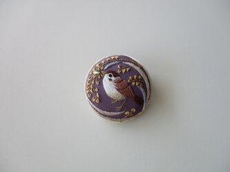 受注制作 稲穂と雀のブローチ 紫の画像