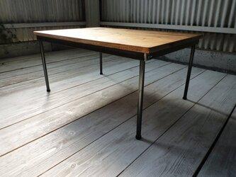 【送料無料】 アイアン ウッド ローテーブル ( ちゃぶ台 座卓 )の画像