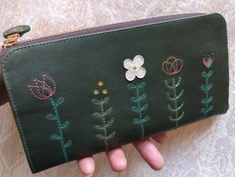 刺繍革財布『LIFE』深緑×サンドベージュ(牛革)L字ファスナー型の画像