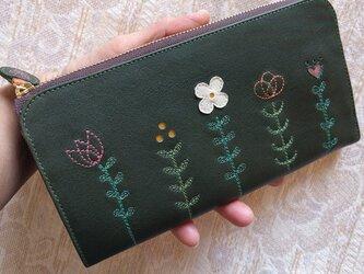 刺繍革財布『LIFE』深緑×カーキグレー(牛革)L字ファスナー型の画像