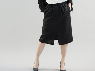 中厚 リネン スカート 前スリット 膝下丈 スカート ウエストゴム 紐 / ブラック s004c-bck2の画像