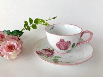 アンティーク風ローズのカップ&ソーサー(ピンク)の画像